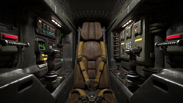 Science fiction pilot's seat in the cockpit. Futuristic spaceship cockpit. Old brown leather pilot seat with yellow safety belts. Sci-fi space fighter craft cockpit. Mech Pilot's seat. 3d rendering.