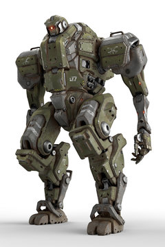 Sci-fi mech soldier standing on a white background. Military futuristic robot with a green and gray color metal. Mech controlled by a pilot. Scratched metal armor robot. Mech Battle. 3D rendering.