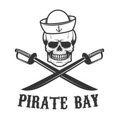 Pirate bay. Corsair skull with crossed sabers. Design element for logo, label, emblem, sign, t shirt.