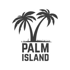 palm island. emblem template with palms. element for poster,sign, t shirt.