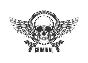 Winged skull with handguns. Design element for logo, label, emblem, sign, t shirt.