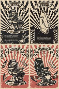Set of barber shop poster templates. Design element for logo, label, emblem, sign, poster.