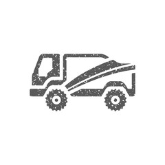 Rally truck icon in grunge texture. Vintage style vector illustration.
