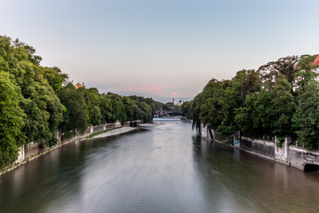 A colorful sunset on the Isar river in Munich in summer - 2