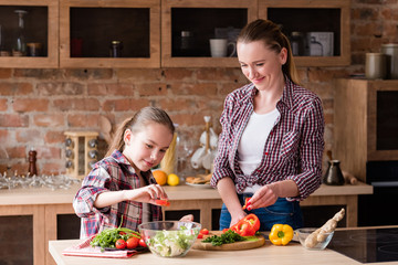 happy family cooking time. mom and daughter preparing meal in the home kitchen