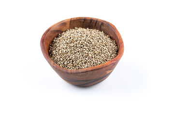 Cannabis Hemp seeds in bowl on white