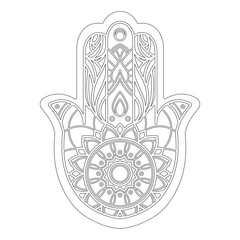 Outline of vector illustration of hamsa hand isolated on white background. Useful for coloring pages and books.