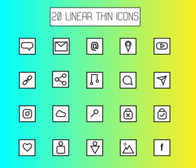 Vector illustration of web thin line icons, mail, location, geo, music, social networks, links and other