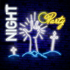Halloween. Zombie neon sign. Happy Halloween. Bright sign, the banner of light. Logo Halloween party emblem. Vector image