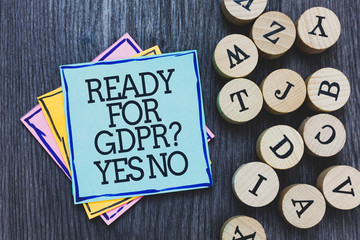 Handwriting text Ready For Gdpr question Yes No. Concept meaning Readiness General Data Protection Regulation Black wooden deck written sticky note beside some round woody alphabets.