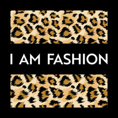 Fashion Design Print with Leopard Pattern. African Animal Skin Fashionable Background for Poster, Print, T-Shirt, Card. Vector illustration