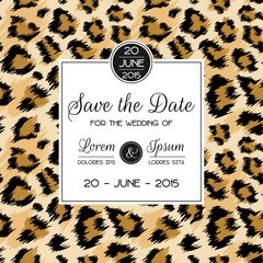 Wedding Invitation Template with Fashionable Leopard Pattern. Tropical Save the Date Card. Animal Ornament Romantic Design for Greeting Postcard, Birthday, Anniversary. Vector illustration
