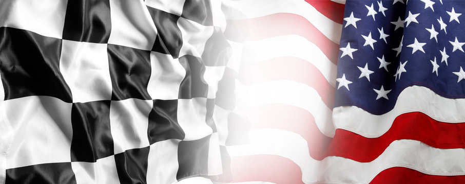 USA and checkered flags