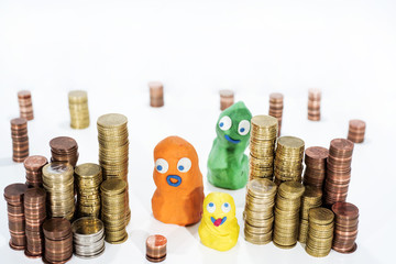 Funny figures with lot of coins.