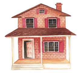 Watercolor house clipart illustration