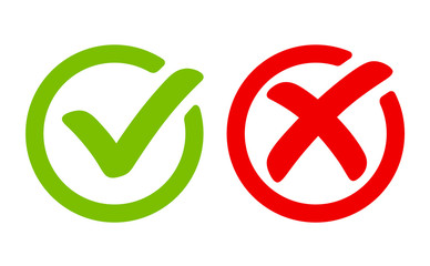 Green tick symbol and red cross sign in circle. Icons for evaluation quiz. Vector. Wall mural