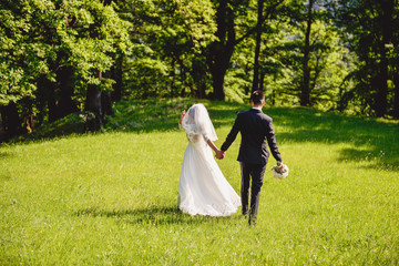 bride and groom walking in the nature holding hands