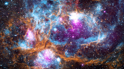 Nebula and galaxies in dark space. Elements of this image furnished by NASA.