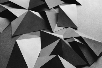 Conceptual composition with white geometric shapes, abstract background
