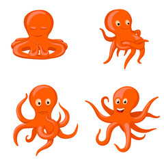octopus emotional characters, emoji drawings