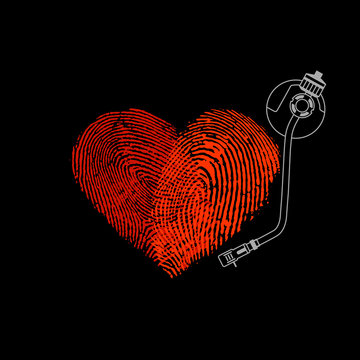 Fingerprint heart love music concept vector