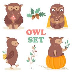 Set with four funny cartoon owls.