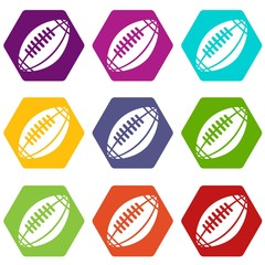 Rugby icons 9 set coloful isolated on white for web