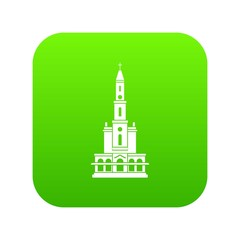 Big castle icon green vector isolated on white background