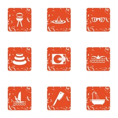 Beach bbq icons set. Grunge set of 9 beach bbq vector icons for web isolated on white background