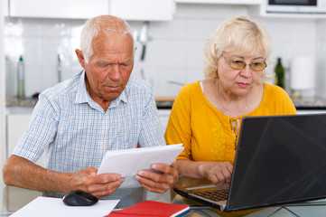 Portrait of a mature family couple  looking at laptop at kitchen