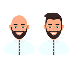 Frontal portraits of two men with a beard and hair and a beard without hair on the head. The upper part of the body is dressed in a shirt. Vector illustration on white background