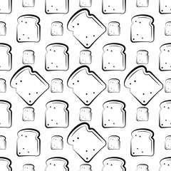 Bread Icon Seamless Pattern, Baked Bread Icon