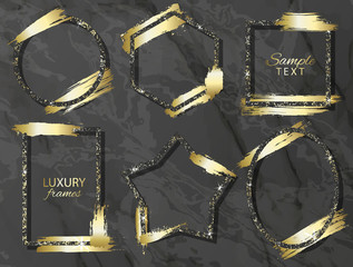 Set of frames with gold sequins and brush strokes . Vector illustration