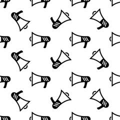 Megaphone Icon Seamless Pattern, Megaphone