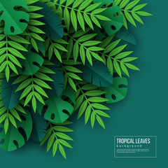 Exotic jungle tropical palm leaves. Summer floral design with green color background. Vector illustration.