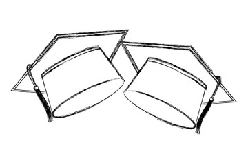 two school graduation hat accessories vector illustration sketch