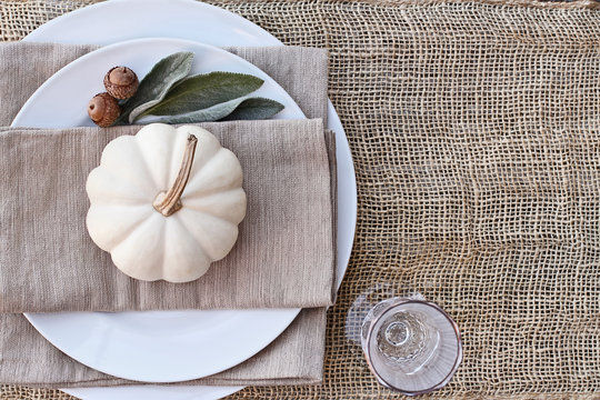 Thanksgiving Day or Halloween place setting with mini white pumpkins, Lamb's Ears leaves, and acorns over burlap table runner.
