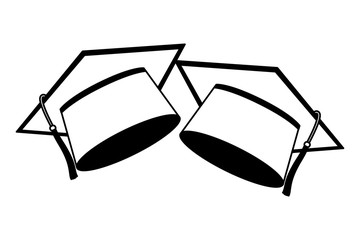 two school graduation hat accessories vector illustration black and white