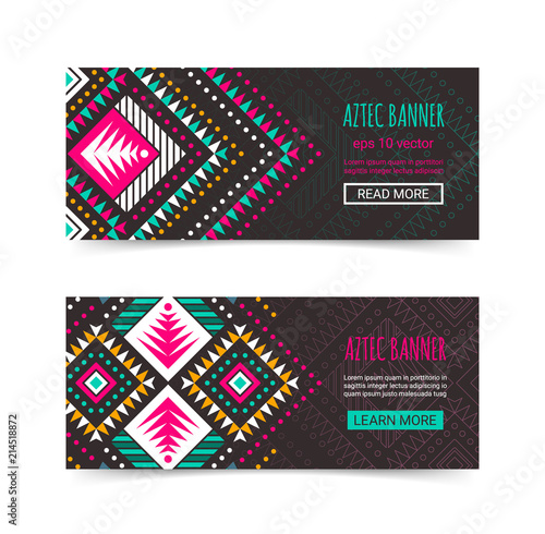 Bright Colorful Horizontal Banner Design Template Set With Tribal Aztec Style Ornament Ethnic Background Collection