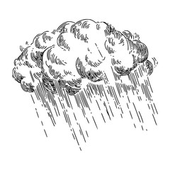 Storm cloud and rain. Sketch. Engraving style. Vector illustration.