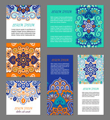 Indian flyer set with bright colorful mehendi style ornament. Ethnic ornamental label. Oriental polygraphy design concept. Eastern collection. EPS 10 vector. Clipping masks.