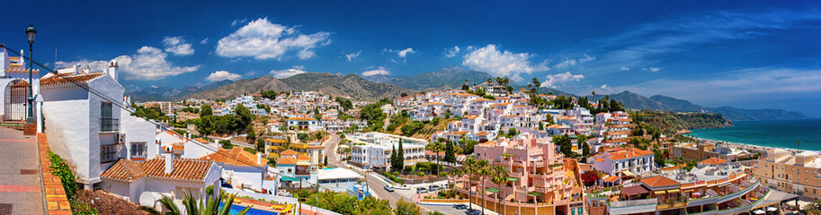 White color houses in Nerja, Malaga Province  Wall mural
