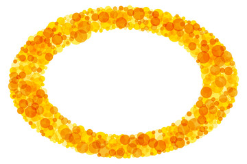 Bright colored elliptical frame. Sparkling translucent dots in the colors yellow to orange forming a ring pattern. Sunny background and decor. Illustration on white background. Vector.