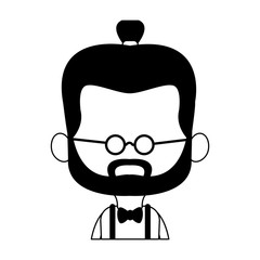 Midget hispter with glasses cartoon vector illustration graphic design