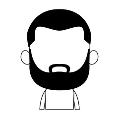 Cute midget black man with beard profile vector illustration graphic design