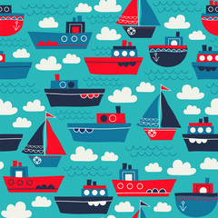 Seamless vector pattern with steamboats and sailboats, clouds, waves. Great for fabric, backgrounds, baby clothes.