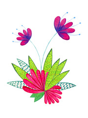Hand drawn watercolor illustration with cartoon decorative flowers. Illustration for children prints, posters and cards