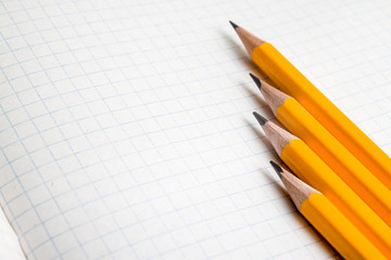 Back to school, education concept with orange pencils and notebook on background for educational new academic year begin or study term start. Copy space