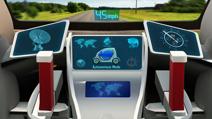 Autonomous vehicle, electric driverless car with infographic data driving on the road, inside view, 3D rendering