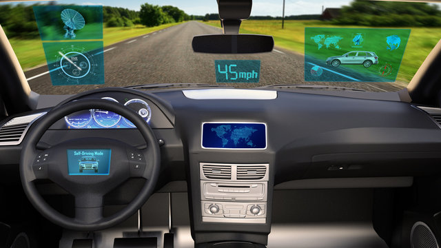 Autonomous vehicle, driverless SUV car with infographic data driving on the road, inside view, 3D rendering